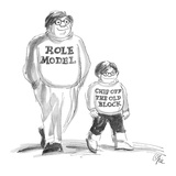 Man and son wear shirts reading: 'Role Model' and 'Chip Off The Old Block.' - New Yorker Cartoon Premium Giclee Print by Everett Opie