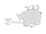Birds riding on rhino. Other bird hitching a ride with thumb out. - Cartoon Premium Giclee Print by Bob Zahn