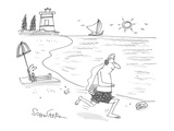 man jogs along the beach with headphones plugged in to a seashell that's a… - Cartoon Premium Giclee Print by Harley L. Schwadron