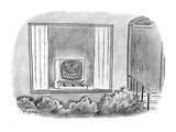 Computer jack-o'-lantern in window of house. - Cartoon Premium Giclee Print by Mike Twohy