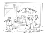 people walking past an electronics store called 'Bait'n'Switch  TV's Stere… - Cartoon Premium Giclee Print by Mick Stevens