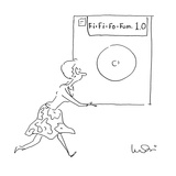 Woman carrying giant floppy disc labeled 'Fi-Fi-Fo-Fum 1.0.' - Cartoon Premium Giclee Print by Arnie Levin