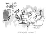 """He always times '60 Minutes.'"" - New Yorker Cartoon Premium Giclee Print by Mischa Richter"