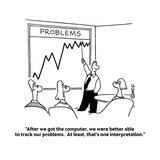 """After we got the computer, we were better able to track our problems.  At…"" - Cartoon Premium Giclee Print by Ted Goff"