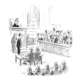 Jurors holding number scores as verdict. - Cartoon Premium Giclee Print by Lee Lorenz