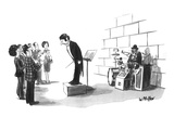 Conductor of one-man band bows before street audience.  One-man band sits … - New Yorker Cartoon Premium Giclee Print by Warren Miller