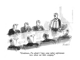 """""""Gentlemen, I'm afraid I have some rather unfortunate news about our littl…"""" - New Yorker Cartoon Premium Giclee Print by Frank Modell"""