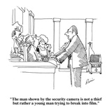 """""""The man shown by the security camera is not a thief but rather a young ma…"""" - Cartoon Premium Giclee Print by J.P. Rini"""