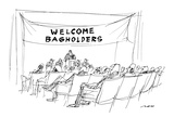 "Banner reading ""WELCOME BAGHOLDERS"" is draped over podium at stock holders… - New Yorker Cartoon Premium Giclee Print by Al Ross"