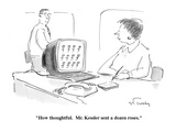 """""""How thoughtful. Mr. Kessler sent a dozen roses."""" - Cartoon Premium Giclee Print by Mike Twohy"""