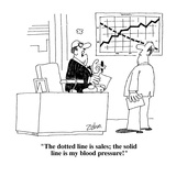 """The dotted line is sales; the solid line is my blood pressure!""  - Cartoon Premium Giclee Print by Bob Zahn"