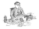 Writer wears a Shakespeare sweatshirt as he works over a typewriter. - New Yorker Cartoon Premium Giclee Print by Edward Koren