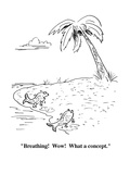 """""""Breathing!  Wow!  What a concept."""" - Cartoon Premium Giclee Print by Aaron Bacall"""