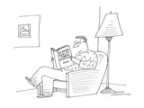 """Man, in chair reading book entitled """"Escaping reality through reading."""" - Cartoon Premium Giclee Print by Mick Stevens"""