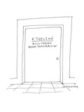 door which reads 'R. Thelsonbear todaybull tomorrow' - Cartoon Premium Giclee Print by Mick Stevens