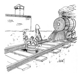 Convict coming out of dug hole in middle of railroad tracks with train app… - Cartoon Premium Giclee Print by Tom Cheney