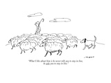 """What I like about him is he never tells you to stay in line, he asks you …"" - New Yorker Cartoon Premium Giclee Print by Al Ross"