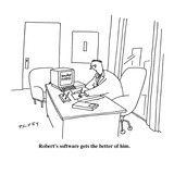 Robert's software gets the better of him. - Cartoon Premium Giclee Print by Peter C. Vey