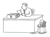 Man sitting at desk with 'In' box on desk and 'Out' box in trash. - Cartoon Premium Giclee Print by Aaron Bacall