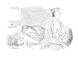 barely-awake father holds baby that is searching for a breast to feed from… - Cartoon Premium Giclee Print by William Haefeli