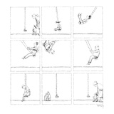 Mother takes child to a swing. In succeeding frames he gets older, and at … - New Yorker Cartoon Premium Giclee Print by Anthony Taber