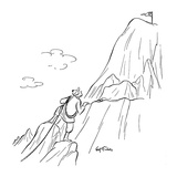 Mountain climber, nearing the top, sees a golf green at the peak. - New Yorker Cartoon Premium Giclee Print by Ed Fisher