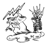 God throwing piece of lightening down from cloud. Next to him is a golf ca… - New Yorker Cartoon Premium Giclee Print by Lee Lorenz