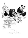 """Say, we pandas are cute!"" - New Yorker Cartoon Premium Giclee Print by Joseph Farris"