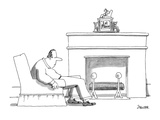 Man sitting sluggishly in chair. On his fireplace is a first-place trophy … - New Yorker Cartoon Premium Giclee Print by Jack Ziegler