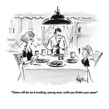 """""""There will be no e-trading, young man, until you finish your peas!"""" - Cartoon Premium Giclee Print by Lee Lorenz"""