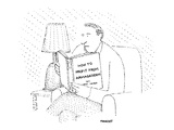 Man sits reading book, 'How to Profit from Armageddon.' - New Yorker Cartoon Premium Giclee Print by Robert Mankoff