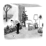 A man practices his golf game in the living room; he has lost the golf bal… - New Yorker Cartoon Premium Giclee Print by Robert J. Day
