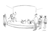 As rather tired travellers wait to pick up their baggage, a couple in bath… - New Yorker Cartoon Premium Giclee Print by Al Ross
