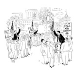 Soapbox speakers at Union Square. One man is campaigning for Miss Rheingol… - New Yorker Cartoon Premium Giclee Print by Robert J. Day