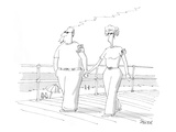 A man and a woman stroll hand in hand on the boardwalk; he's got a pack of… - Cartoon Premium Giclee Print by Jack Ziegler