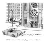 """Me? I'm not in a dental plan. I thought you were in a dental plan."" - New Yorker Cartoon Premium Giclee Print by J.B. Handelsman"