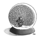 Man inside a snow globe looks up at falling snow. He holds a shovel. - New Yorker Cartoon Premium Giclee Print by John Jonik