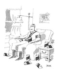 Adolph Hitler sitting in arm chair drinking 'Mein Kampf' beer, with empty … - Cartoon Premium Giclee Print by Jack Ziegler