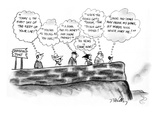"""Six people stand at Inspiration Point thinking various cliches: """"Today is … - New Yorker Cartoon Premium Giclee Print by Donald Reilly"""