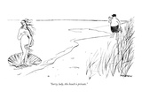 """Sorry, lady, this beach is private."" - New Yorker Cartoon Premium Giclee Print by James Stevenson"