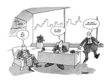 Three executives in an office thinking to themselves: one with a giant tie… - New Yorker Cartoon Premium Giclee Print by Jack Ziegler