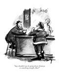 """""""Say, shouldn't you be going down chimneys or something tonight, Mac?"""" - New Yorker Cartoon Premium Giclee Print by James Mulligan"""