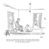 """On my way home today on the bus, a lone grape rolled down the aisle and c…"" - New Yorker Cartoon Premium Giclee Print by George Booth"