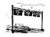 Overhead signs on the thruway say 'EAST SIDE', 'WEST SIDE', & 'ALL AROUND … - New Yorker Cartoon Premium Giclee Print by Donald Reilly