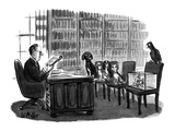 Lawyer reads will to pets. Dogs, fish, and bird look angry, cat looks plea… - New Yorker Cartoon Premium Giclee Print by Warren Miller