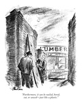 """""""Furthermore, it can be nailed, bored, cut, or sawed—just like a plastic."""" - New Yorker Cartoon Premium Giclee Print by Alan Dunn"""