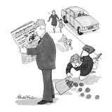 As man reads headlines on front page of New York Times, the exact same sce… - New Yorker Cartoon Premium Giclee Print by J.B. Handelsman