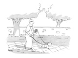 Dog walker and dog sharing earphones and iPod. - Cartoon Premium Giclee Print by Jack Ziegler