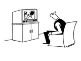 Man watching televised ball game looks over his shoulder for ball that pla… - New Yorker Cartoon Premium Giclee Print by Otto Soglow
