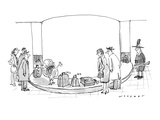 Travelers at an airport seem surprised when they see a turkey coming throu… - New Yorker Cartoon Premium Giclee Print by Bill Woodman